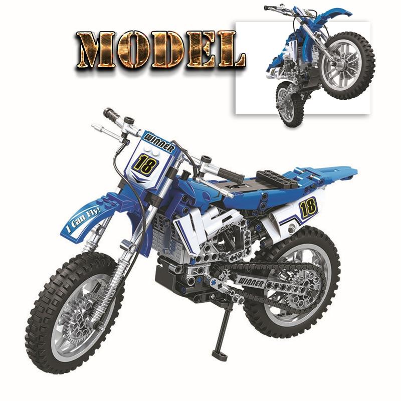 Finger Rock 474pcs MOTO Cross Bike Building Blocks Assembly Racing Motorcycle Model Educational DIY Bricks Technic Toys For Boy