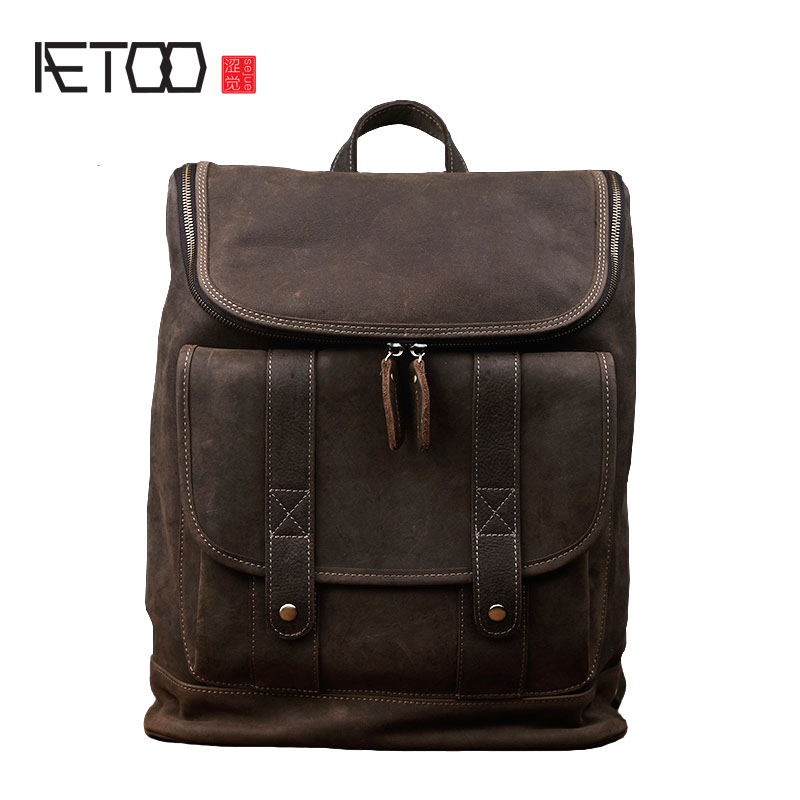 AETOO Men's Crazy Horse Leather Backpack Handmade Retro Leather Travel Shoulder Bag Leisure College Wind Leather Bag kundui 2016 new europe and america schoolbag england girl shoulder bag leisure backpack retro college wind genuine leather bag