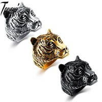 Tengyi Punk 316L Stainless Steel Domineering Tiger Head Ring Top Quality Animal Biker Ring Men Personality