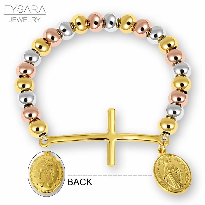 FYSARA Stainless Steel Beaded Bracelets For Women Men Religion Virgin - Fashion Jewelry - Photo 3