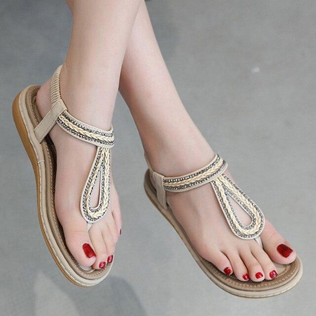 fbb7432ca0920b Femmes chaussures grande taille 35-42 femmes sandales mode chaussures d'été  t-strap tongs dames pantoufles plat sandale femme chaussures de plage