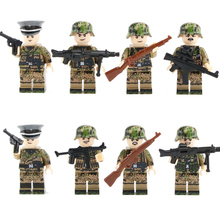 WW2 Military camouflage German Army Figures Blocks toys Germany Soldier officers Helmet Weapon building blocks Brick