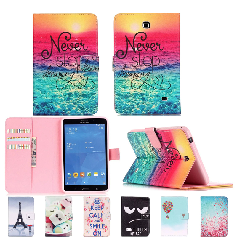 Luxury 7 Flower tablet pu Leather Stand Tablet Cover Case For Samsung Galaxy Tab 4 Tab4 7.0 T230 T231 T235 SM-T230 SM-T231 #E luxury flip stand case for samsung galaxy tab 3 10 1 p5200 p5210 p5220 tablet 10 1 inch pu leather protective cover for tab3