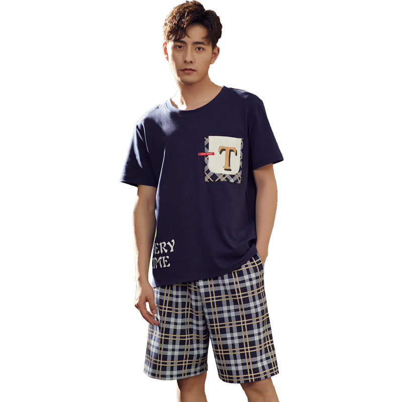 Spring Summer New Style Men's Short Sleeved Shorts Short Pants Genuine Pajamas Simple House Wear Relaxing 6535 Cotton
