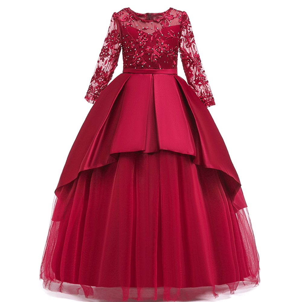 2019 New Lace Long-sleeved Elegant Dress Flower Girl Party Show Ball Dress Vestidos Comunion Pageant Ball Gown For Girl