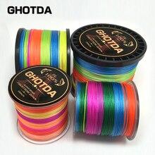 Многоцветный 8 нитей 300 м 500 м 1000 м PE плетеной лески море морской рыбалки ткань 100% сверхдержавы GHOTDA