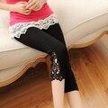 Материнство Летом Модальный Леггинсы Нога открытие Аппликации Кружева Капри Беременность Опора Живота Леггинсы