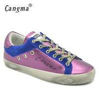 CANGMA Original Top Quality Girls Purple Casual Shoes Autumn Comfortable Shoes Patent Leather Sneakers Women Flats Vintage