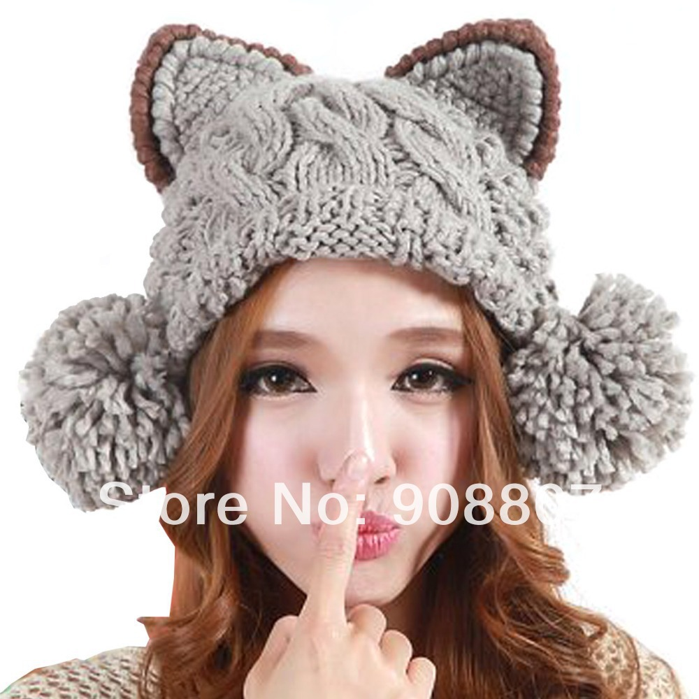 Etang Free Shipping Women Girl Cat Design Slouchy Cabled Pattern Knit Beanie  Crochet Rib Hat Brim Cap 47688baad70