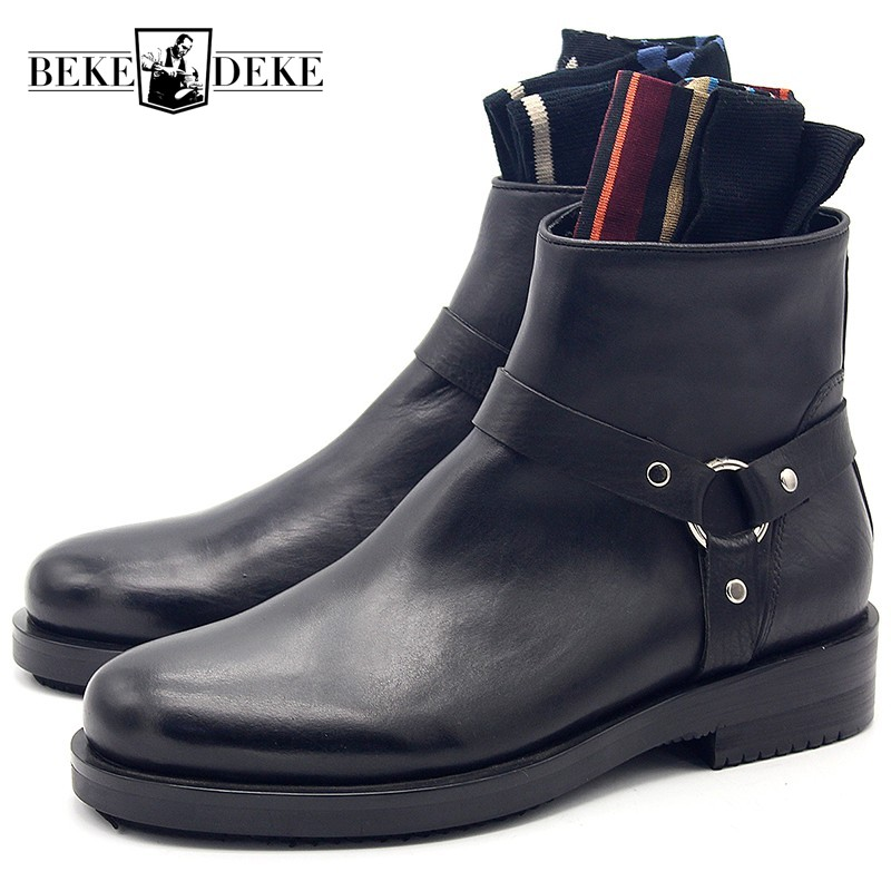 2019 Autumn New Fashion Black Genuine Leather Round Toe Ankle Boots Men Zipper Fashion Buckle  Boots Casual Leather Shoes2019 Autumn New Fashion Black Genuine Leather Round Toe Ankle Boots Men Zipper Fashion Buckle  Boots Casual Leather Shoes