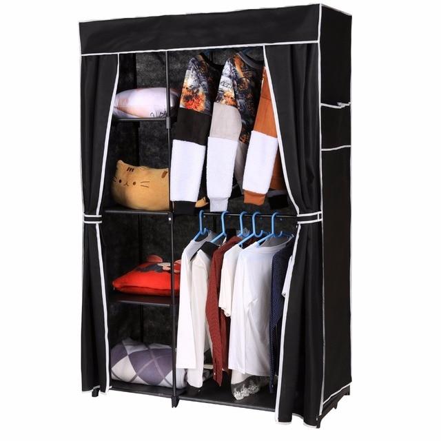 Homdox Non Woven Folding Wardrobe Shelves Hanging Bar Shoes Clothes Organizer Closet Bedroom Furniture