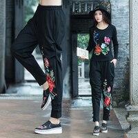 Quần hậu cung Nữ 2018 Mùa Xuân Vintage Floral Thêu Cao Eo Thời Trang Full Length Pants Cộng Với SizeL-3XL
