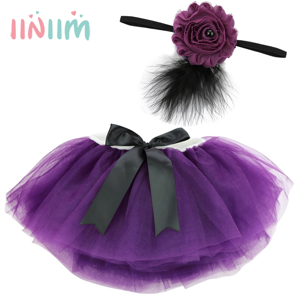 Pretty Infantil Baby Clothing Baby Girls Headband and Tutu skirt Photography Props Outfits Clothes Party Costume 0-3/12 Months 9 colors newborn baby girls handmade soft tulle tutu skirt head flower outfits photography props birthday photo shoot gift t1