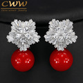 Fashion OL Style White Gold Plated Cubic Zirconia Setting Large Flower Stud Earrings With Pearls Jewelry For Women CZ282