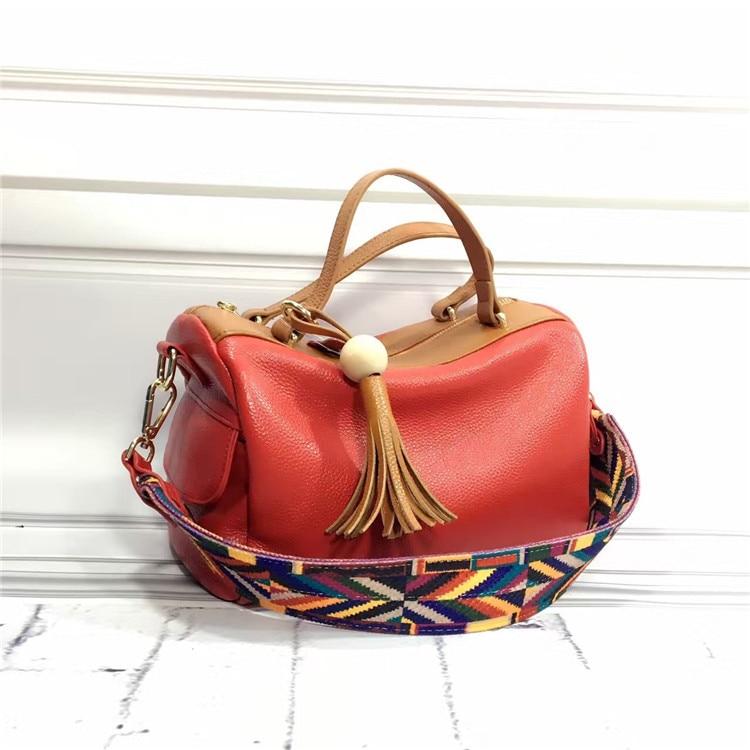 European And American Style Women's Genuine Leather Handbags Ladies Tassel Shoulder Handbags Fashion Women Cow Leather Tote Bags
