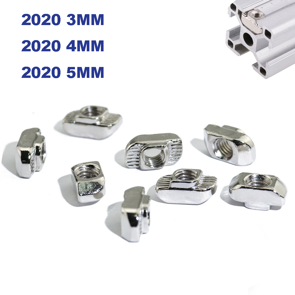 100pcs 50pcs M3 M4 M5 Nickel Plated Tee Nut Hammer Head Attach Nut for Aluminum Extrusion Profile 2020 <font><b>1515</b></font> Series Slot 6mm image