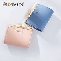 DUSUN 2018 Fashion Women Small Wallet Square Hasp Short Design Coin Purse Pocket Wallets Brand Metal