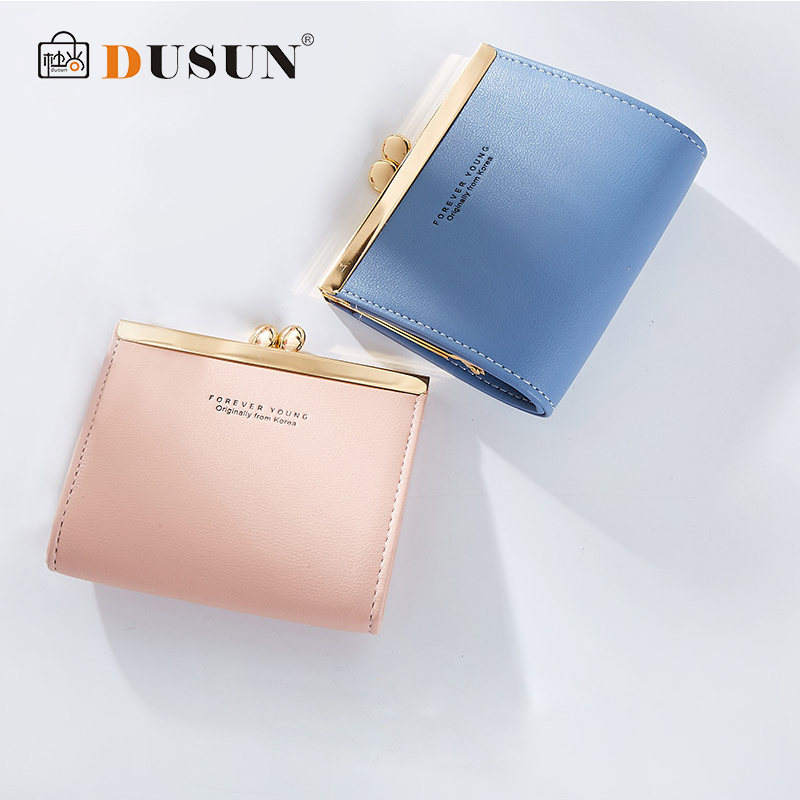 DUSUN 2018 Fashion Women Small Wallet Square Hasp Short Design Coin Purse Pocket Wallets Brand Metal Clips 6 Colors Adult Purse