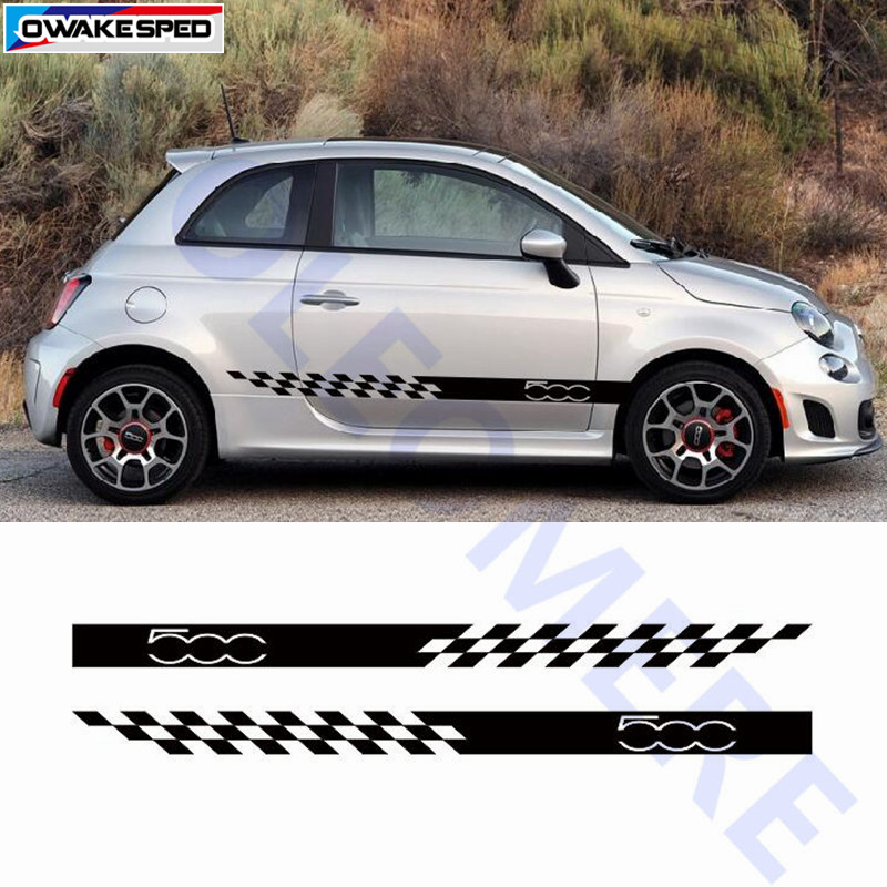 For FIAT 500 Door Side Skirt Stripes Lattice Flag Graphics