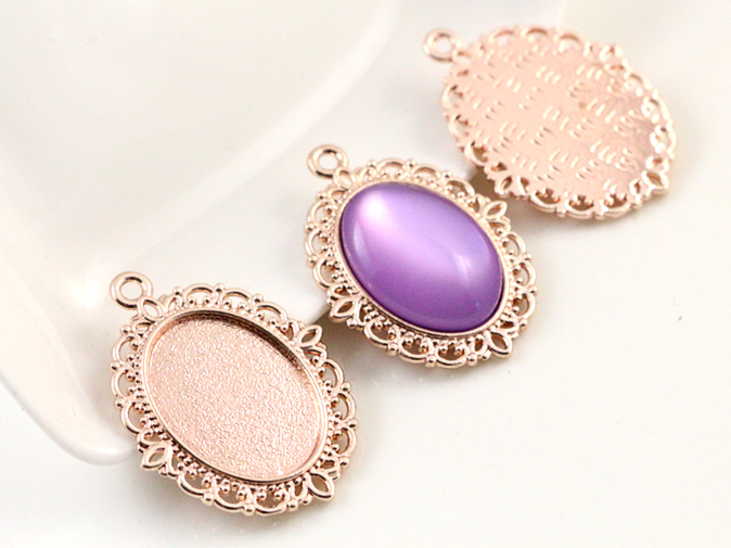 15pcs 13x18mm Inner Size Rose Gold Simple Style Cameo Cabochon Base Setting Charms Pendant necklace findings  (D2-60)15pcs 13x18mm Inner Size Rose Gold Simple Style Cameo Cabochon Base Setting Charms Pendant necklace findings  (D2-60)