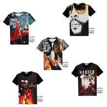 High quality fashion street basketball style 3d print short sleeve round neck boy t shirt 11