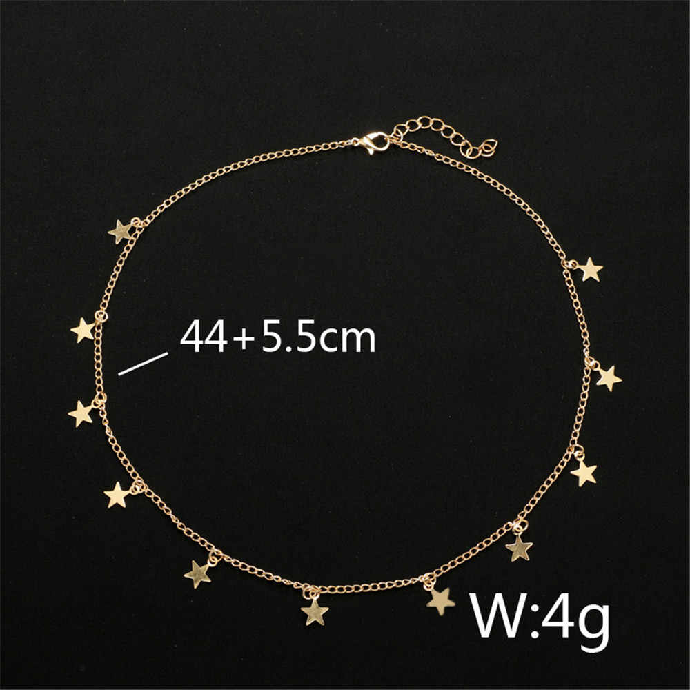 Collier Femme Vintage Gold Choker Necklace Chain Stars Tassel Necklace Women Stainless Steel Jewelry Party Gift Colar Masculino