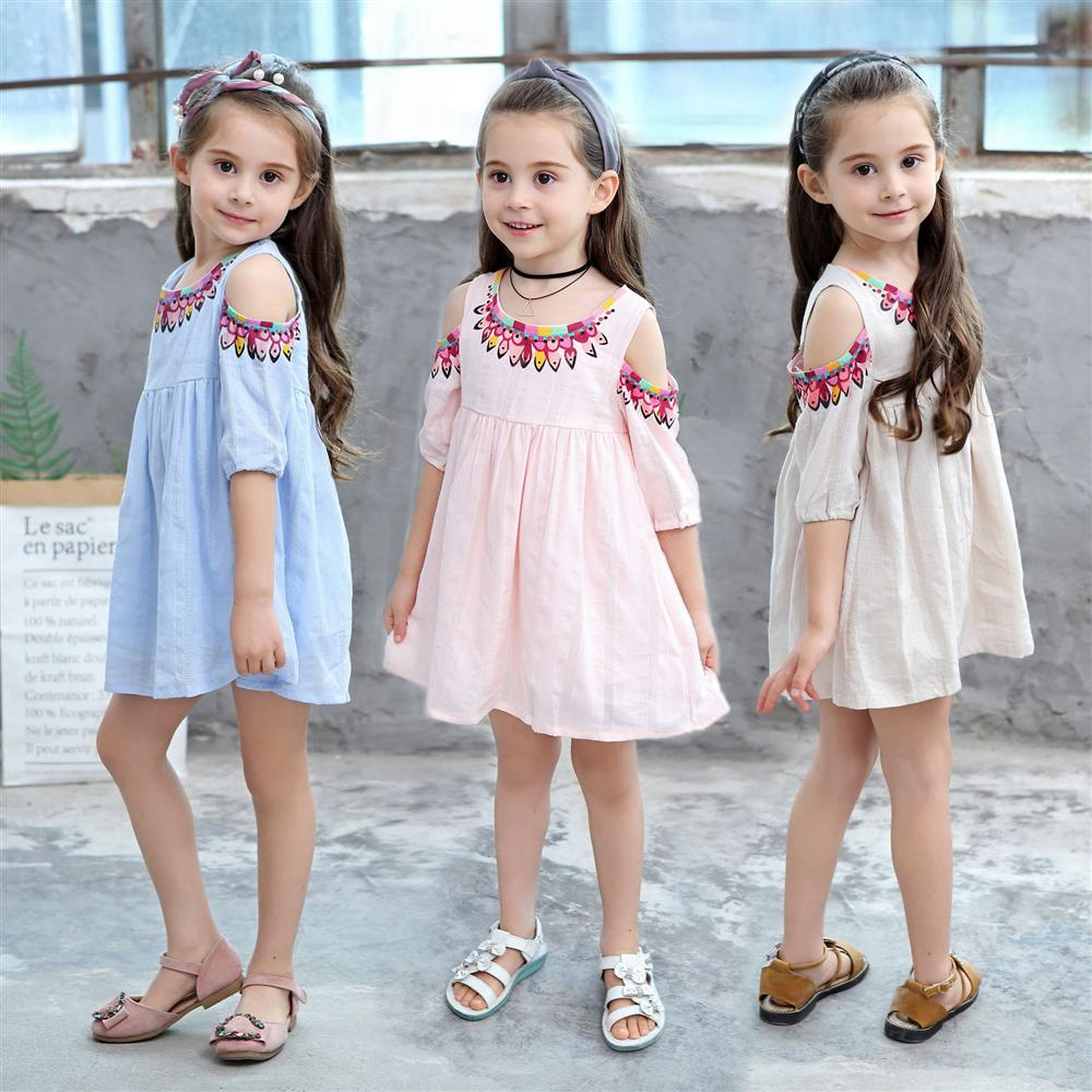 2 3 4 5 6 7 8 9 Year Girls Dress 2018 New Style Flower Kids Clothes for Girls Off-the-shoulder Fashion Children Princess Dress