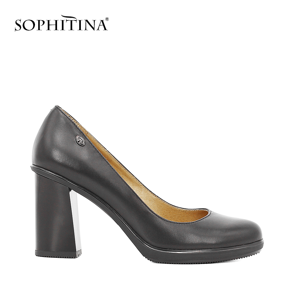 bea9c7175f50 SOPHITINA Elegant Lady Pumps High Quality Genuine Leather Round Toe High  Thick Heels Platform Party Office