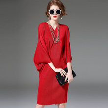 New Autumn Summer Fashion Women dress Three Quarter Batwing Sleeve Loose Dresses Red 8788