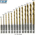 TASP 13pcs HSS Drill Bit for Metal Twist Drill Set 1.5 ~ 6.5mm - Titanium Coated - 1/4 Hex Shank -MDBK001