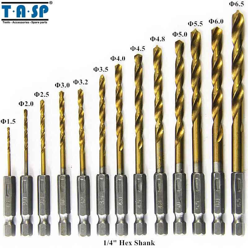 TASP MDBK001 13pcs HSS Drill Bit for Metal Titanium Coated Twist Drill Set 1.5 ~ 6.5mm with 1/4