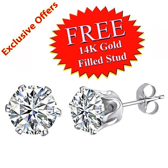 Round White Cubic Zirconia Stud Earrings in 10K Yellow Gold #With Free Stud все цены
