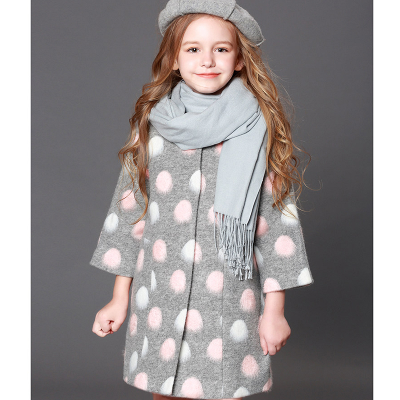 girls woolen coat foreign style 2018 new long section children fall and winter clothes woolen coat quilted cotton