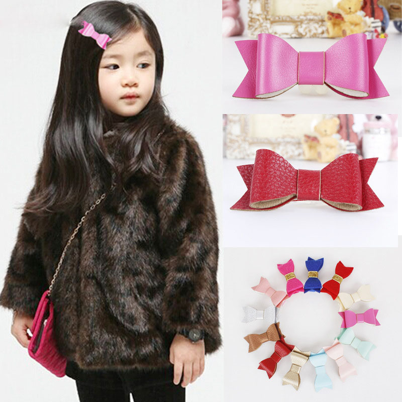 Wholesale 2015 new Glitter Felt and Artificial Leather Bow Hair Clips girl Fashion Hair Accessory Bow Hair Grips 20ps/lot