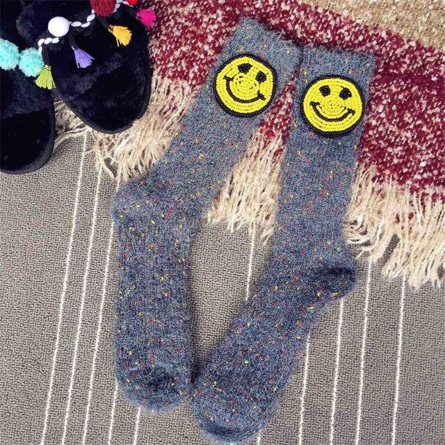 Handmade Japanese Street Fashion Thick Socks Women Girls High Socks Smiling Face Patches Warm Socks Sokken 2018 Spring Winter 5