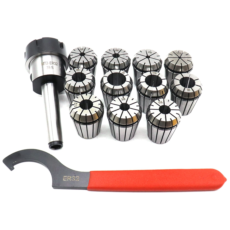 Er32 Chuck Mt2 Shank Spanner With 11 Pc Collets SetEr32 Chuck Mt2 Shank Spanner With 11 Pc Collets Set