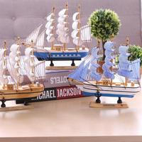 Aqumotic Wooden Sailboat Decoration Creative Ship Model Home Nautical Decoration Crafts Educational Gift Mediterranean Style