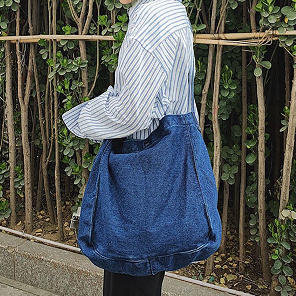 Shoulder-Bag Tote Handbag Canvas Large-Capacity Vintage Fashion Women Solid for Purse