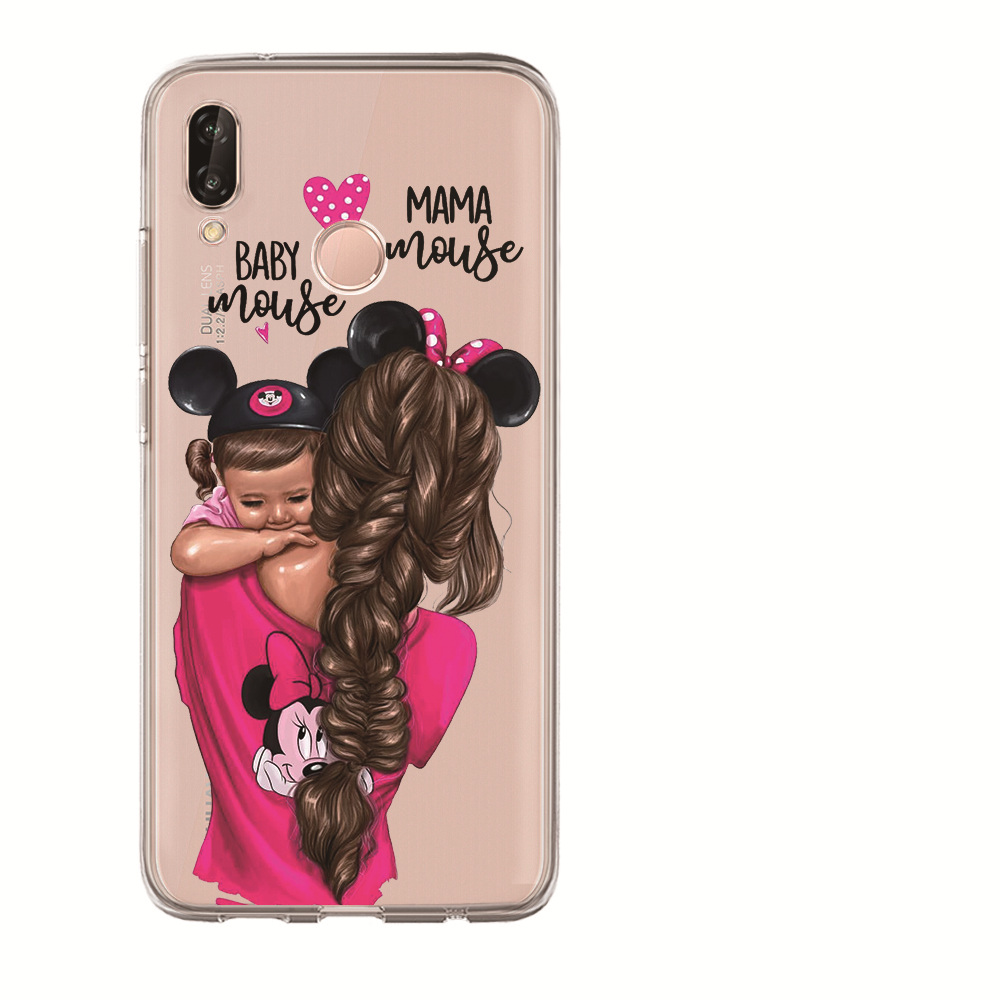 Luxury Fashion Black Baby Mom Girl Brown Family Hair Phone Case Etui For Huawei Honor 10 Lite 10 9 8 7A 7C 7X 7 6A Coque Cover in Fitted Cases from Cellphones Telecommunications