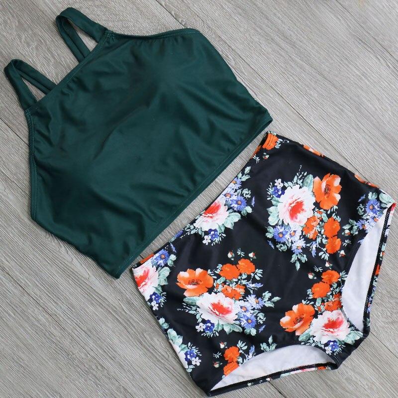 HTB14 N2wkKWBuNjy1zjq6AOypXa3 High Waist Swimsuit 2018 Sexy Bikinis Women Swimwear Vintage High Neck Bikini Set Bathing Suits Swim Wear Biquini Plus Size XXL