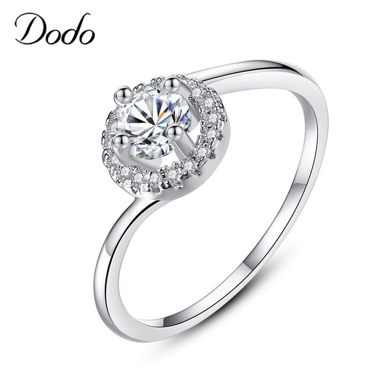 Simple Round Four Prong AAA Zircon Rings Korean Fashion