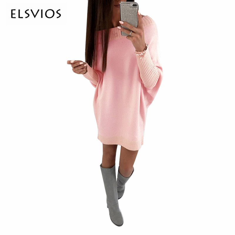 ELSVIOS Hot Autumn Mini Sweater Dress 2017 Women O Neck Batwing Sleeve Pullover Sweater Dresses Casual Loose Comfy Knitted Dress