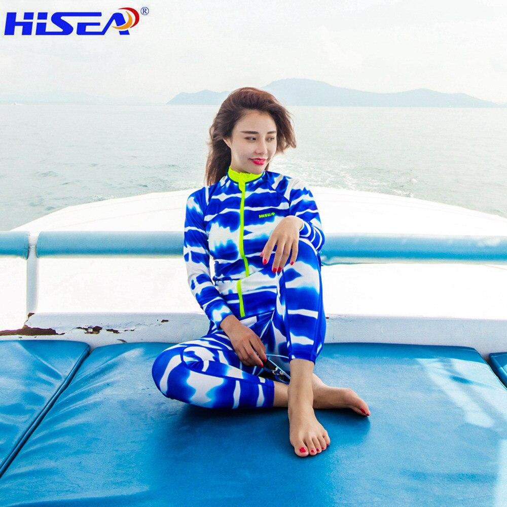 Hisea femmes 0.5 MM Lycra à manches longues maillot de bain plage élastique calico fermeture à glissière rashguard Surf chemise pantalons courts vêtements de natation