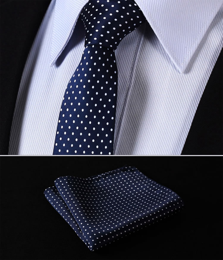 "TD119B6 Blue Polka Dot 2.4"" 100%Silk Woven Slim Skinny Narrow Men Tie Necktie Handkerchief Pocket Square Suit Set"