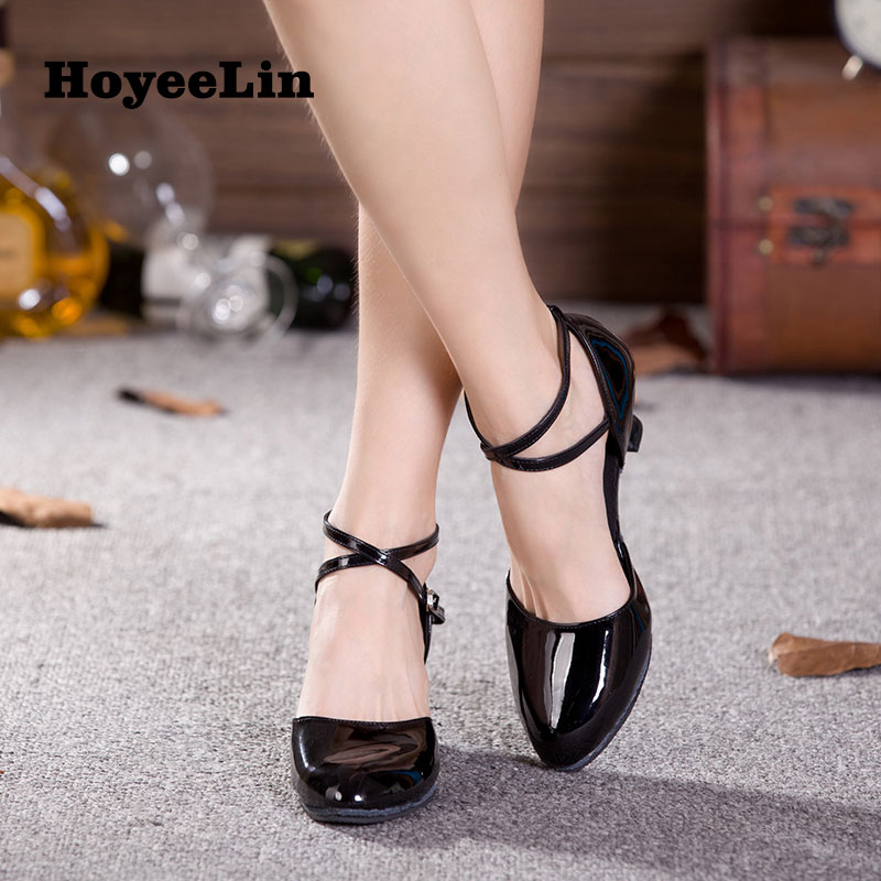 HoYeeLin Closed Toe Dance Shoes Women's Mid Heeled Ballroom Tango Waltz Dance Shoes Indoor 2017 new women ballroom dance dress organza sexy backless standard performance competition jazz waltz tango fox trot jigs suits