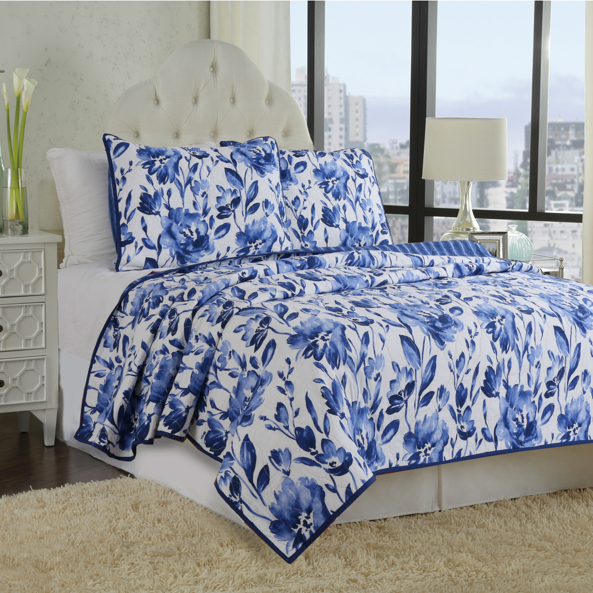 blue and white porcelain 100 cotton quilt bedspread set full queen size 3 piece chinese style floral comforter bed cover set