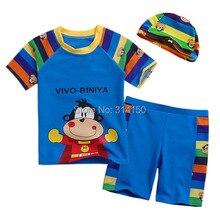 VIVOBINIYA/ ; детский купальный костюм с милой обезьянкой для маленьких мальчиков; UPF50+ купальный костюм; детский купальный костюм летний комплект из 3 предметов для малышей