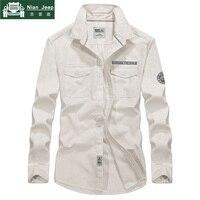 Army Military Shirt Men 2018 Brand Spring Autumn 100% Cotton Long Sleeve Turn down Collar Mens Shirts Plus Size 3XL