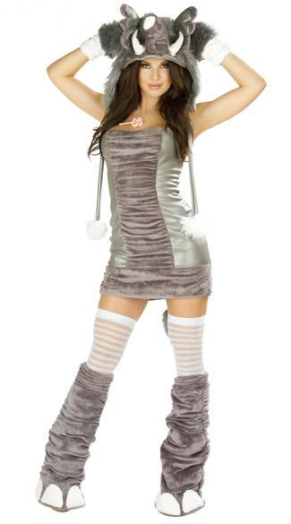 Sexy Women Naughty Elephant Costume Adult Halloween Cosplay Elephant Plush Animal Uniforms Party Dresses