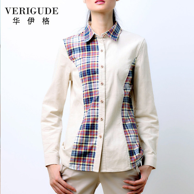 Veri Gude Spring and Fall Women Blouse Long Sleeve Plaid Shirt Corduroy TurnDown Collar Free Shipping Slim Fit Work Street Style